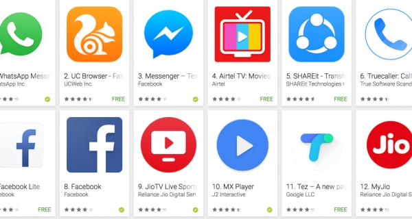 10 most-popular apps in India Image