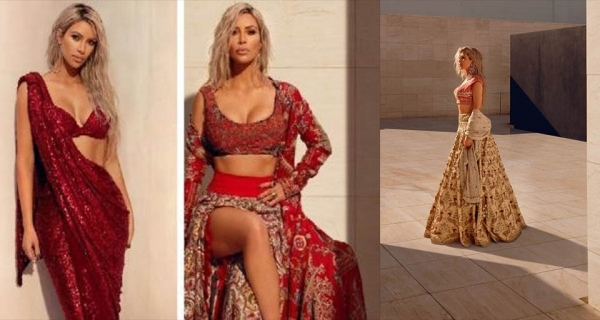Kim Kardashian caught on camera in a steamy Indian Saree [ View Pics] Image