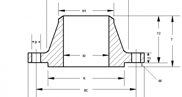 Weld Neck Flanges Dimensions Image